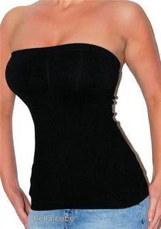 SEXY BLACK SEAMLESS STRETCHY FITTED TUBE TOP NEW P/S 2 B BeBe Strapless tank top #bebe #TankCami #Clubwear