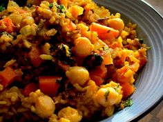 Fragrant Sweet Curried Rice, Kale and Chickpeas ( Vegan) by aliceinparislovesartandtea #Rice #Kale #Chickpeas #Curry