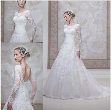 2015 robes de mariée vintage automne élégant dos nu manches longues Applique Tul