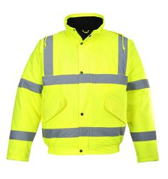 Mens High Visibility Jacket Long Length Waterproof Windproof Concealed Hood Top