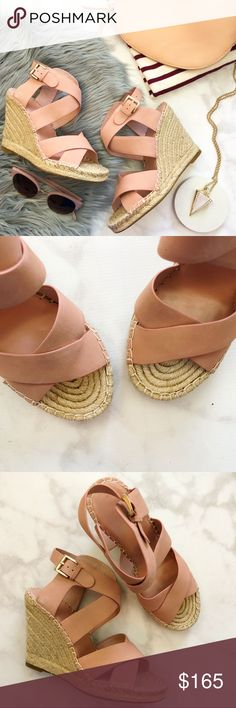 """Joie Dusty Pink Nubuck Strappy Wedge Espadrilles Details: * Size 38/8 * Dusty pink nubuck  * Crisscross straps * Adjustable ankle strap with gold hardware * 4.25"""" espadrille wedge heel  * New in box * Last photo shows same style in different color Joie Shoes Wedges"""