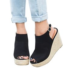 5304fce1f248 Syktkmx Womens Platform Wedge Sandals Suede PeepToe Strap Buckle Mid Heel  Espadrille Shoes   Continue to