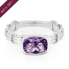 Amethyst Stack Ring in Sterling Silver  available at #HelzbergDiamonds
