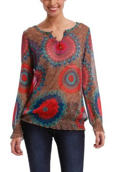 Desigual women's Tyler blouse. A really colourful gauze blouse is an item you can't be without this season. Bohemian Girls, Dress Hairstyles, Cool Style, My Style, Boho Outfits, Clothing Items, My Wardrobe, Boho Chic, How To Look Better