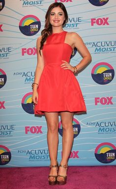 Lucy Hale at the Teen Choice Awards 2012. Love the coral dress!