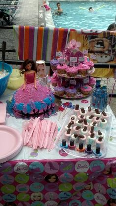 Barbie party setup MARSHMELLOWS LOOK LIKE NAIL POLISH SUPER CUTE