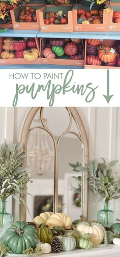 """How to Paint Pumpkins Get the """"decorator's look"""" you want this fall by painting real or faux pumpkins in the exact paint colors you desire! This step-by-step DIY tutorial with pictures demonstrates how to paint pumpkins to achieve beautiful results. Decoration Christmas, Thanksgiving Decorations, Seasonal Decor, Fall Decorations, Thanksgiving Meal, Thanksgiving Celebration, Holiday Decor, Faux Pumpkins, Painted Pumpkins"""