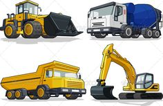 Construction Vehicles   #GraphicRiver         A vector set of several construction machines: bulldozer, cement truck, haul truck & excavator.