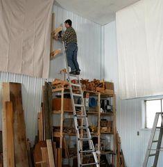 Way-up-high cantilevered garage shelves Garage Storage Shelves, Garage Tool Organization, Building Garage Shelves, Garage Shelf, Garage Tools, Garage Workshop, Cantilever Shelf, Cheap Storage, Woodworking Projects