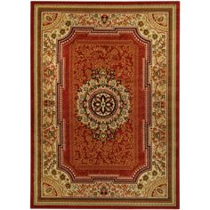 Medallion Traditional Red Area Rug (8'2 x 9'10) | Overstock.com Shopping - Great Deals on 7x9 - 10x14 Rugs