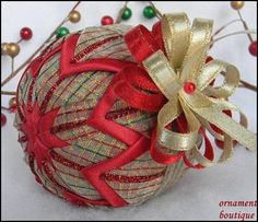 Red Christmas Ornament gold quilted ribbon by OrnamentBoutique