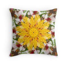 K137 Yellow Flower Kaleidoscope Throw Pillows #Abstractedness #Gravityx9 #redbubble