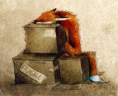 """Fox on Box"" by ""Skia"" on deviantArt. (an aspect of Reynard)"