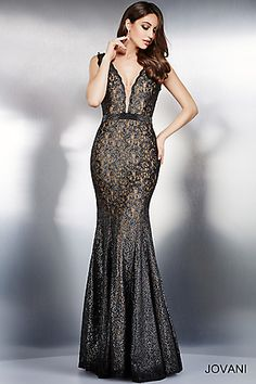 Gunmetal Sleeveless Lace Evening Dress 36447