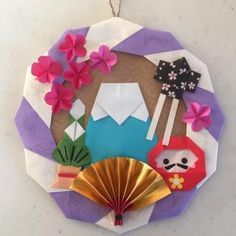 手作り リース 正月 Holiday Crafts, Fun Crafts, Diy And Crafts, Crafts For Kids, Arts And Crafts, Paper Crafts, Origami Wreath, Origami And Kirigami, Origami Paper