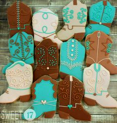 Custom cowboy boot sugar cookies are made to order and can be customized with…