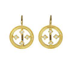 "22K Gold ""Stained Glass"" Diamond Earrings"