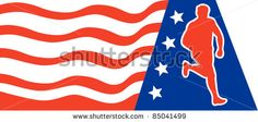 vector illustration of a illustration of a Marathon road runner jogger fitness training running with American stars and stripes in background. - stock vector #runner #silhouette #illustration