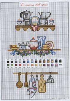 kitchen cross stitch pattern icon with DMC labeling
