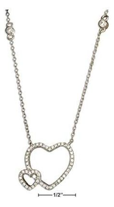 """Sterling silver 16.5""""-18.5"""" adjustable micro pave Cubic Zirconia double open hearts necklace"""