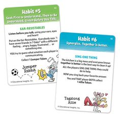 We really loved this game --The 7 Habits of Happy Kids! (from the book by Sean Covey)