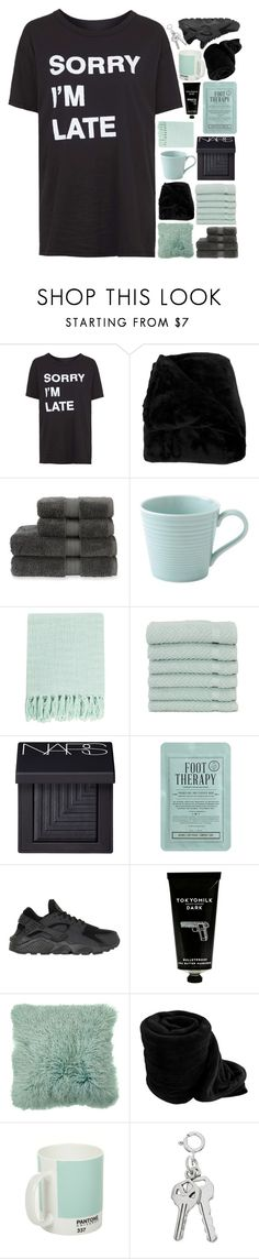"""""""read d for beauty tips n' tricks!"""" by samiikins ❤ liked on Polyvore featuring Topshop, Woven Workz, Christy, Royal Doulton, Surya, Linum Home Textiles, NARS Cosmetics, Kocostar, NIKE and TokyoMilk"""