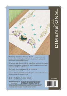 Dimensions 72-73889 Butterfly Meadow Dresser Scarf, Stamped Cross Stich