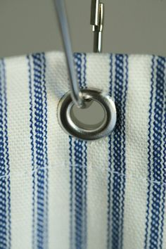 Nautical Ticking Stripe Grommeted Shower Curtain by ModernFolkShop, $58.00