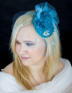 turkusowy fascynator, stroik do włosów