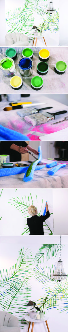 Use pool noodles to as stamps to create a DIY palm leaf wall mural! http://mrkate.com/2017/03/21/diy-pool-noodle-stamped-palm-leaf-art/