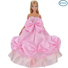 E-TING Fashion Dolls Clothes Prom Dresses Pink Wedding Party Gown Dress Up For Barbie Dolls
