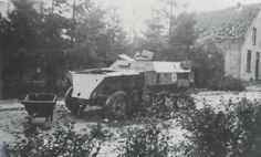 A knocked out German half-track near the 7th King's Own Scottish Borderers position in White House, Oosterbeek. Copyright: G. R. Castendijk.