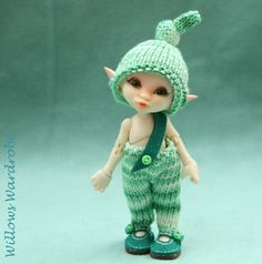 fairyland Real puki  -  gooseberry - hand knitted  hat and pants set - willows wardrobe