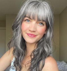 Long Gray Hair, Grey Hair With Bangs, Silver White Hair, Grey Hair Styles For Women, Grey Hair Inspiration, Gray Hair Highlights, Gray Hair Growing Out, Transition To Gray Hair, Great Hair