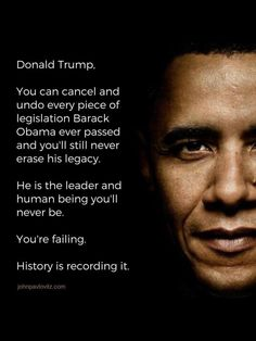 The trump Administration is The Worst Administration in American History and can't compare to The Obama Administration. tRUMP himself is a Jealous, Envious, Vindictive, Racist Ass who isn't and Never will be half the Man President Barrack Obama is. President Obama & his Administration NEVER had this Embarrassing Chaos, Scandals, Blatant Lying, Divisive Hate Rhetoric and Twitter Tantrums!! WE MISS THE CIVILITY, CALM & INTELLIGENCE OF PRESIDENT BARRACK OBAMA!!