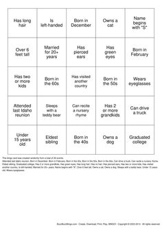 Reunion Activities | Herzinger Reunion Human BINGO Bingo Cards to Download, Print and ...