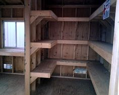 Shed Talk: Interior walls and shelves help organize.
