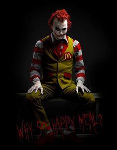 Clown + The Joker = Scary Ronald McDonald Le Joker Batman, Der Joker, Joker Art, Joker And Harley Quinn, Spiderman, Joker Heath, Scary Clowns, Creepy, Evil Clowns