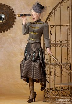 Misses' Steampunk Costume -I have the pattern for this one. Maybe lighter clips would drape better...
