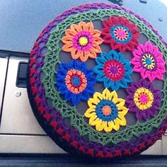 How fab is this #crochet  tire cover by @deannag02 I need to get me a new car so I can have one of these.