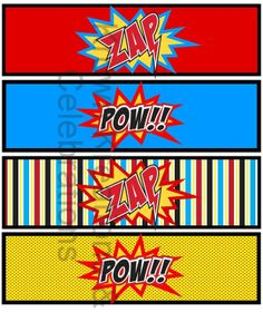 SUPER HERO Party Printables - Superheroes Party for Spiderman, Batman and Superman  - Krown Kreations. $3.99, via Etsy.