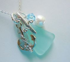 Sea Glass Necklace - Aqua Beach Glass Anchor  Necklace Seaglass Jewelry