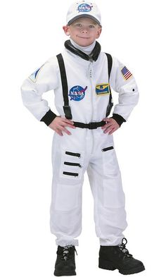 Aeromax Jr. Astronaut Suit with Embroidered Cap and NASA patches, WHITE
