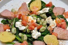Salat mit Lammzungen und Fava-Bohnen
