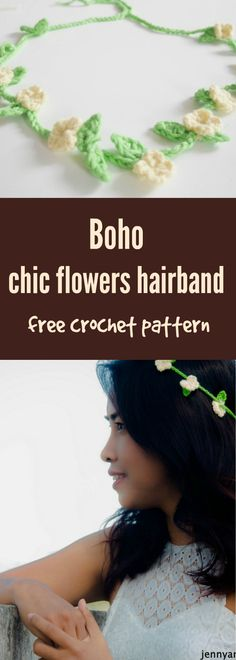 Get the bohemian style with boho chic flowers hairband or headband free crochet pattern for beginner, you can whip this up in 10 minutes by jennyandteddy