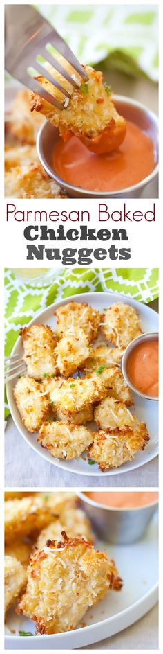 Easy Dinner Recipes That Kids Love Parmesan Baked Chicken Nuggets - Best nuggets with real chicken & Parmesan, no deep-frying. The easiest baked chicken nuggets recipe ever Think Food, I Love Food, Good Food, Yummy Food, Baked Chicken Nuggets, Crispy Chicken, Chicken Bites, Baked Fish, Chicken Parmesean