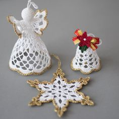 Christmas ornaments Crochet set of 3 White by SevisMagicalStitches