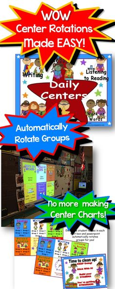 No more making center rotation pocket charts with this automated center rotation system!  Simply type in your groups and use your projector to show the daily 5 superhero themed rotations and it changes groups after a set time!