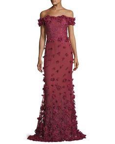 TW6QH Marchesa Notte Off-the-Shoulder Column Evening Gown w/ 3D Petals
