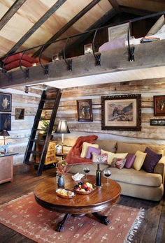 Log cabin interior design is associated with those winter vacations where you do nothing but relax. We mustn't forget that there are also log cabin homes. Cabin Interior Design, Cabin Design, House Design, Loft Design, Garage Design, Diy Interior, Interior Walls, Modern Interior, Chalet Interior